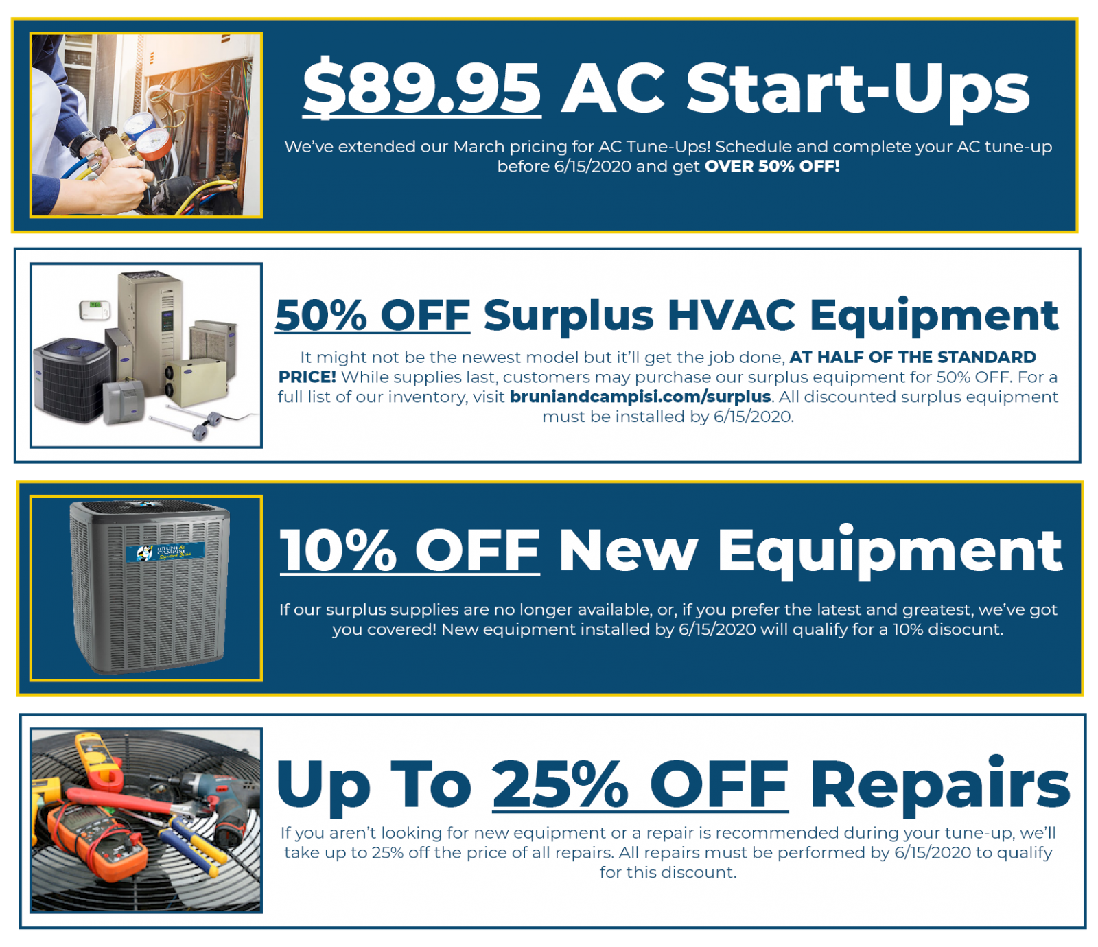 special offers on repairs and new HVAC equipment